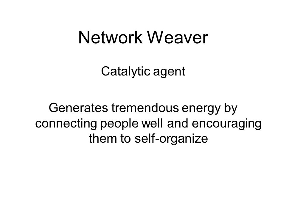 Network Weaver Catalytic agent Generates tremendous energy by connecting people well and encouraging them to self-organize