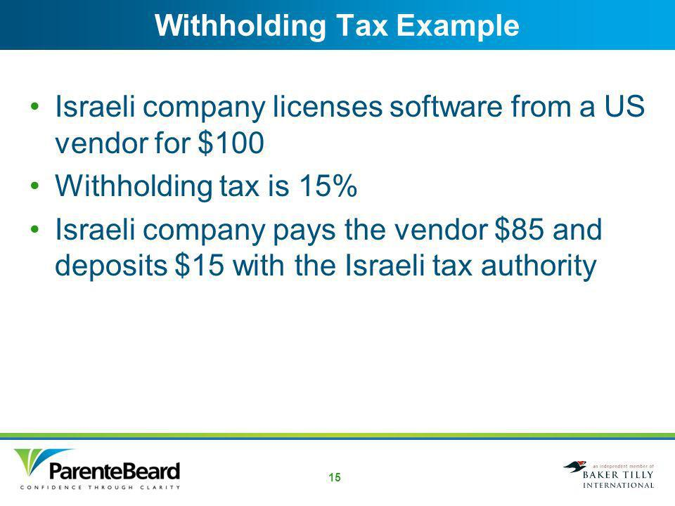 14 License of Software from a US Licensor US licensor is subject to a 15% Israeli tax under the US/Israel income tax treaty US licensor must supply a certification to the licensee that it is entitled to the benefits of the US/Israel income tax treaty Certification obtained from the IRS