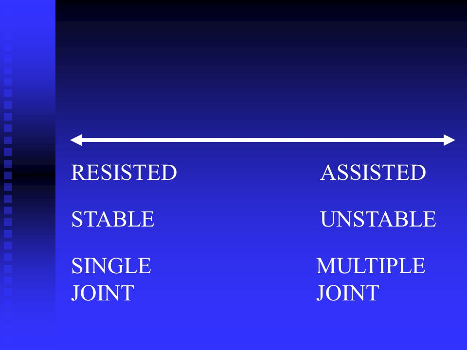 RESISTEDASSISTED STABLEUNSTABLE SINGLE JOINT MULTIPLE JOINT