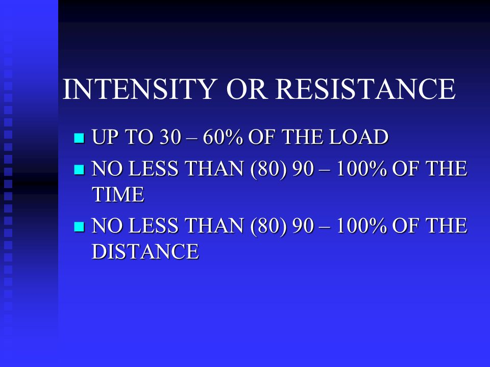 INTENSITY OR RESISTANCE UP TO 30 – 60% OF THE LOAD UP TO 30 – 60% OF THE LOAD NO LESS THAN (80) 90 – 100% OF THE TIME NO LESS THAN (80) 90 – 100% OF THE TIME NO LESS THAN (80) 90 – 100% OF THE DISTANCE NO LESS THAN (80) 90 – 100% OF THE DISTANCE