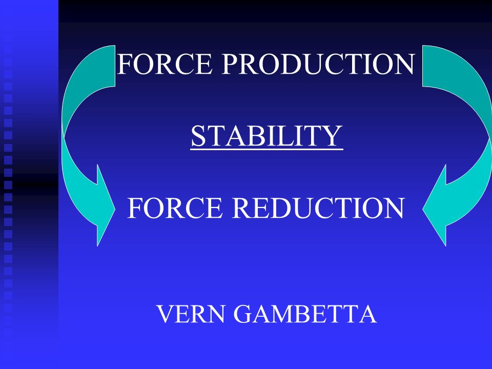 FORCE PRODUCTION STABILITY FORCE REDUCTION VERN GAMBETTA