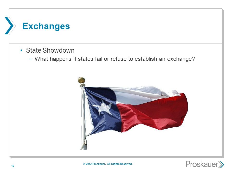 12 Exchanges State Showdown ­ What happens if states fail or refuse to establish an exchange.