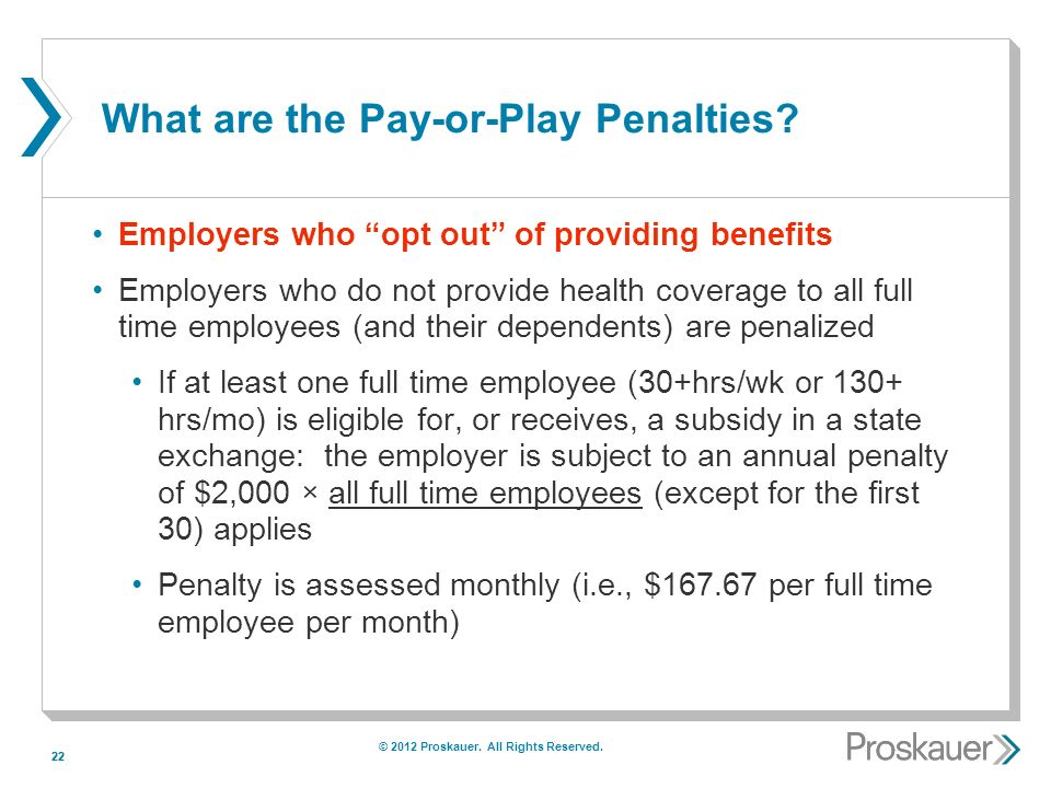 22 What are the Pay-or-Play Penalties.