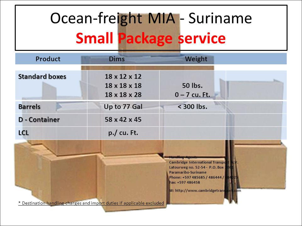 Ocean-freight MIA - Suriname Small Package service ProductDims Weight Standard boxes 18 x 12 x x 18 x x 18 x lbs.
