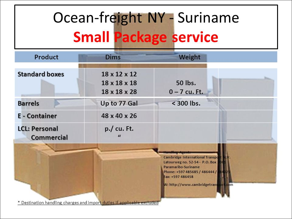 Ocean-freight NY - Suriname Small Package service ProductDims Weight Standard boxes 18 x 12 x x 18 x x 18 x lbs.