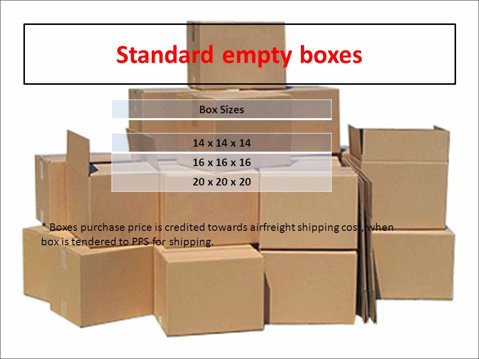 Standard empty boxes Box Sizes 14 x 14 x x 16 x x 20 x 20 * Boxes purchase price is credited towards airfreight shipping cost, when box is tendered to PPS for shipping.