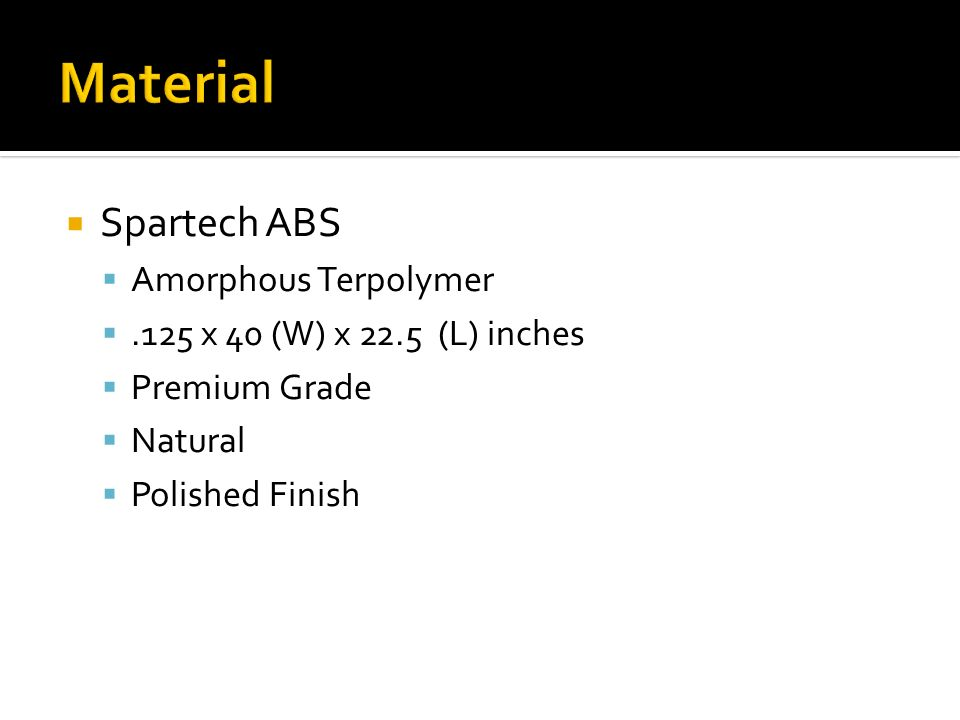 Spartech ABS Amorphous Terpolymer.125 x 40 (W) x 22.5 (L) inches Premium Grade Natural Polished Finish