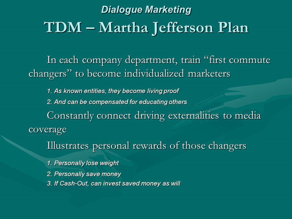 Dialogue Marketing TDM – Martha Jefferson Plan In each company department, train first commute changers to become individualized marketers 1.