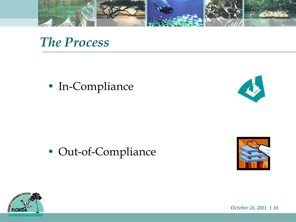The Process In-Compliance Out-of-Compliance October 28, 2011 | 16