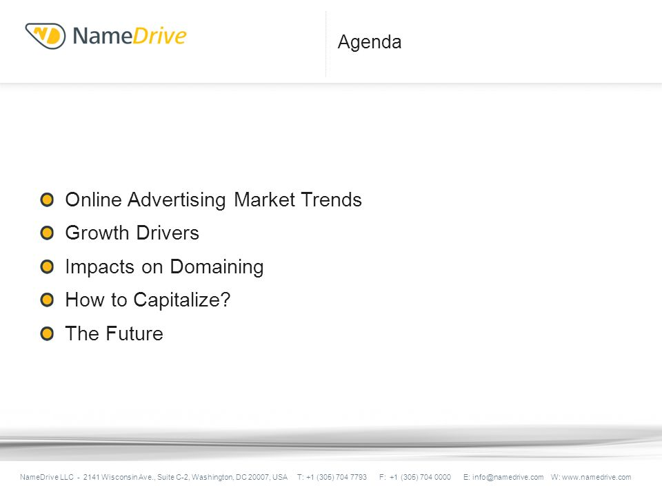 Agenda Online Advertising Market Trends Growth Drivers Impacts on Domaining How to Capitalize.