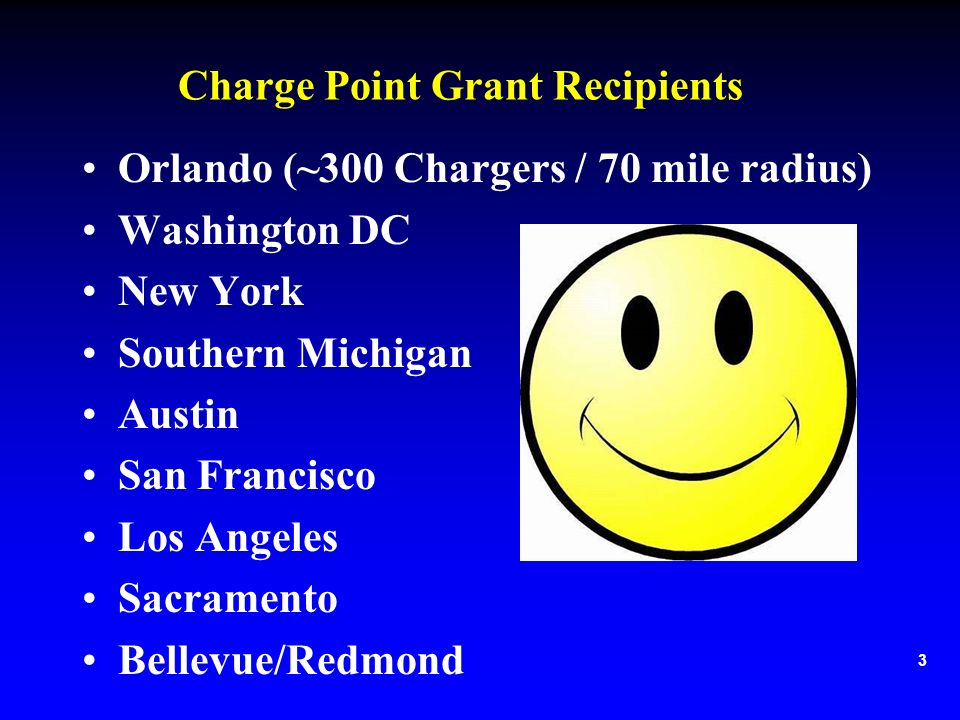 Charge Point Grant Recipients Orlando (~300 Chargers / 70 mile radius) Washington DC New York Southern Michigan Austin San Francisco Los Angeles Sacramento Bellevue/Redmond 3