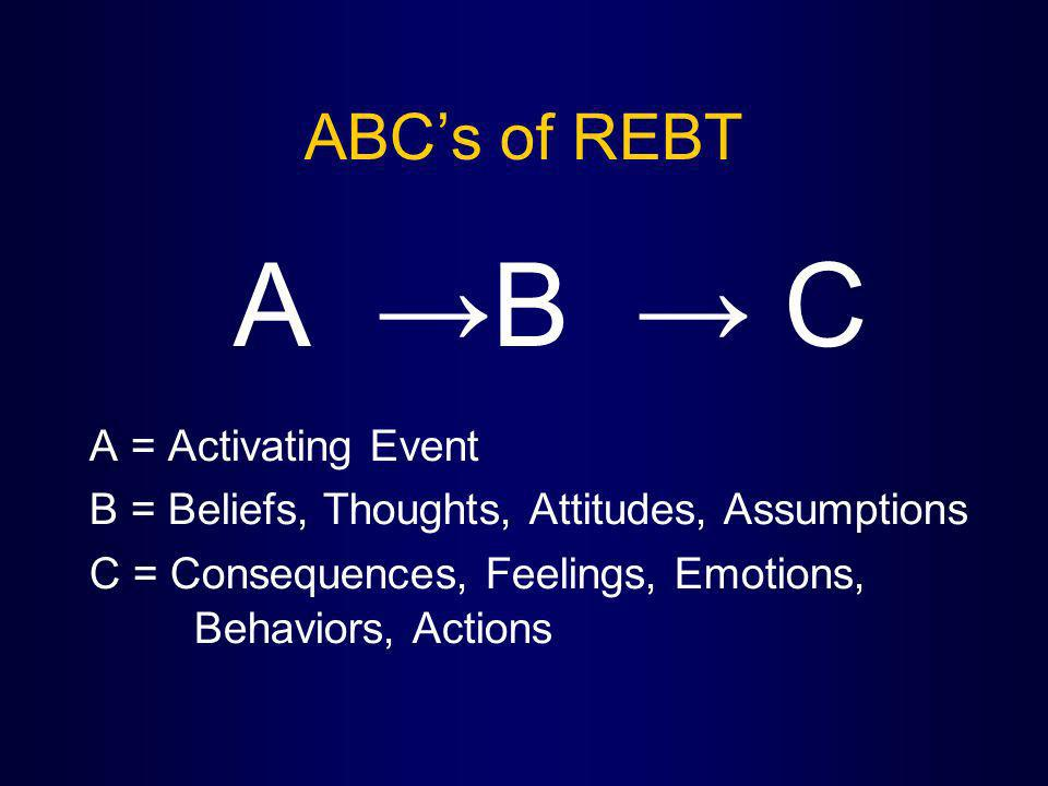 ABCs of REBT A B C A = Activating Event B = Beliefs, Thoughts, Attitudes, Assumptions C = Consequences, Feelings, Emotions, Behaviors, Actions