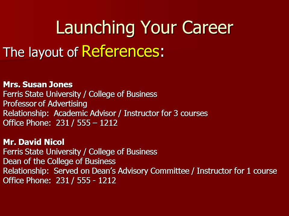 Launching Your Career The layout of References: Mrs.