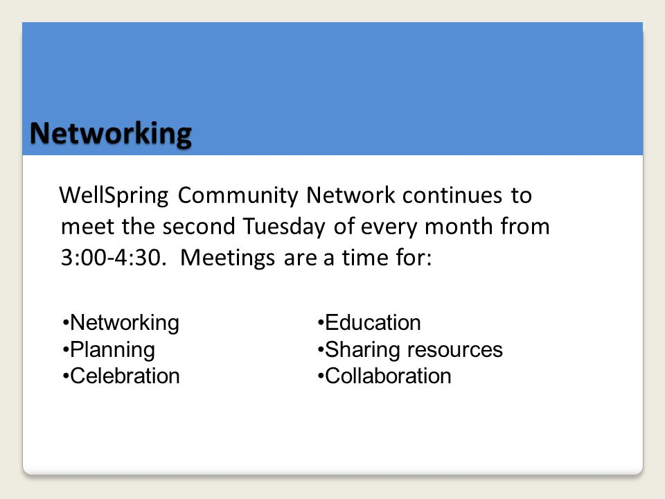 WellSpring Community Network continues to meet the second Tuesday of every month from 3:00-4:30.
