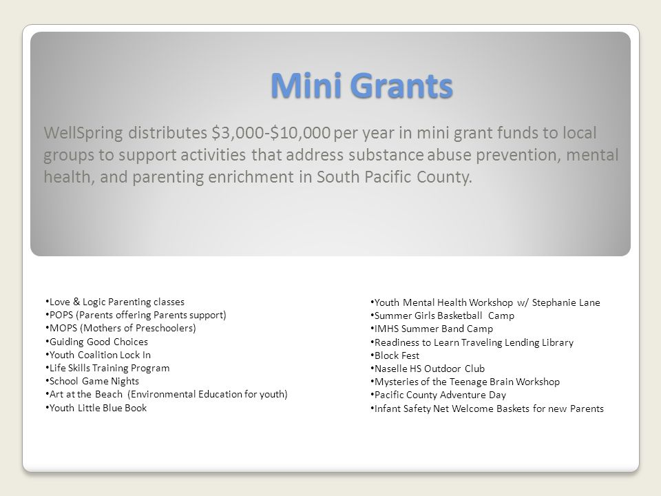Mini Grants WellSpring distributes $3,000-$10,000 per year in mini grant funds to local groups to support activities that address substance abuse prevention, mental health, and parenting enrichment in South Pacific County.
