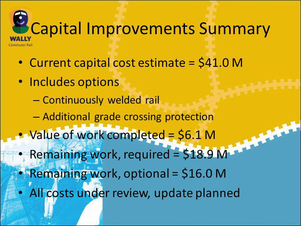 Capital Improvements Summary Current capital cost estimate = $41.0 M Includes options – Continuously welded rail – Additional grade crossing protection Value of work completed = $6.1 M Remaining work, required = $18.9 M Remaining work, optional = $16.0 M All costs under review, update planned