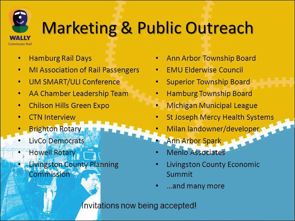 Marketing & Public Outreach Hamburg Rail Days MI Association of Rail Passengers UM SMART/ULI Conference AA Chamber Leadership Team Chilson Hills Green Expo CTN Interview Brighton Rotary LivCo Democrats Howell Rotary Livingston County Planning Commission Ann Arbor Township Board EMU Elderwise Council Superior Township Board Hamburg Township Board Michigan Municipal League St Joseph Mercy Health Systems Milan landowner/developer Ann Arbor Spark Menlo Associates Livingston County Economic Summit …and many more Invitations now being accepted!