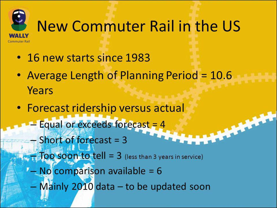 New Commuter Rail in the US 16 new starts since 1983 Average Length of Planning Period = 10.6 Years Forecast ridership versus actual – Equal or exceeds forecast = 4 – Short of forecast = 3 – Too soon to tell = 3 (less than 3 years in service) – No comparison available = 6 – Mainly 2010 data – to be updated soon