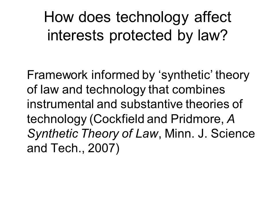 How does technology affect interests protected by law.