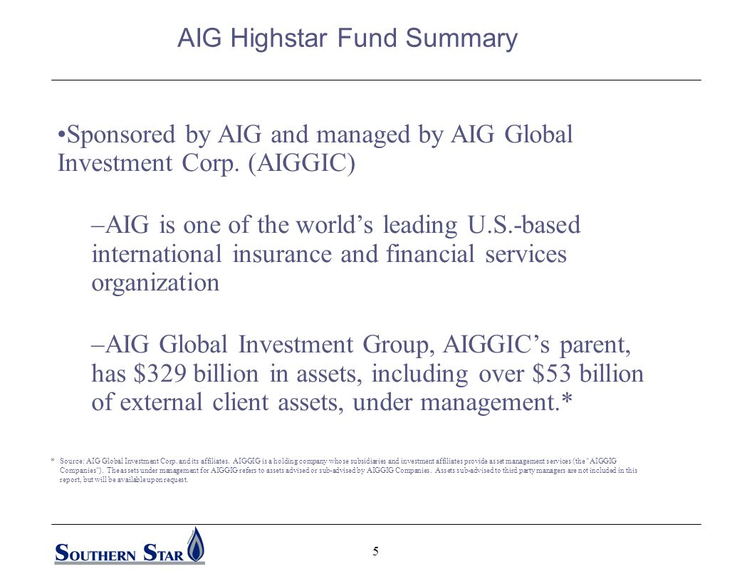5 Sponsored by AIG and managed by AIG Global Investment Corp.