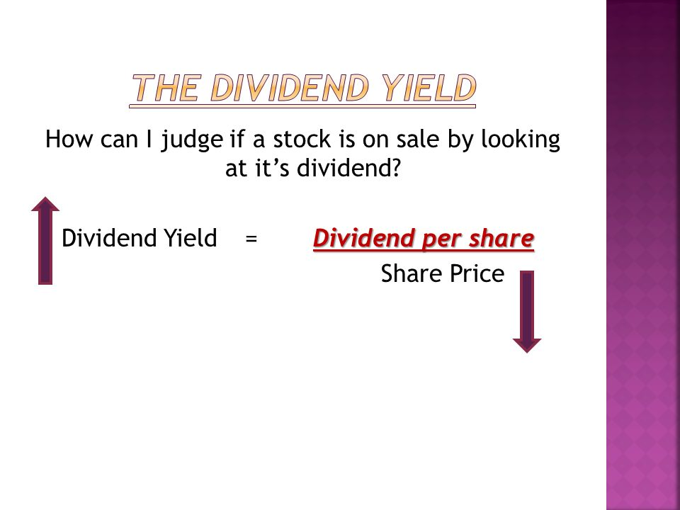 How can I judge if a stock is on sale by looking at its dividend.