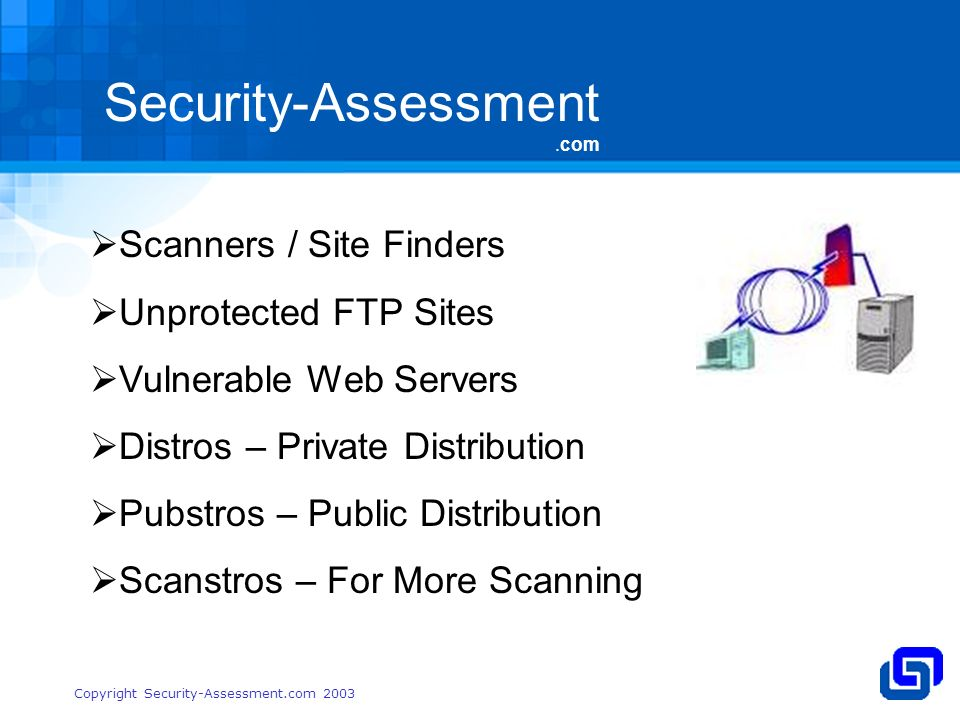 Security-Assessment.com Copyright Security-Assessment.com 2003 Scanners / Site Finders Unprotected FTP Sites Vulnerable Web Servers Distros – Private Distribution Pubstros – Public Distribution Scanstros – For More Scanning