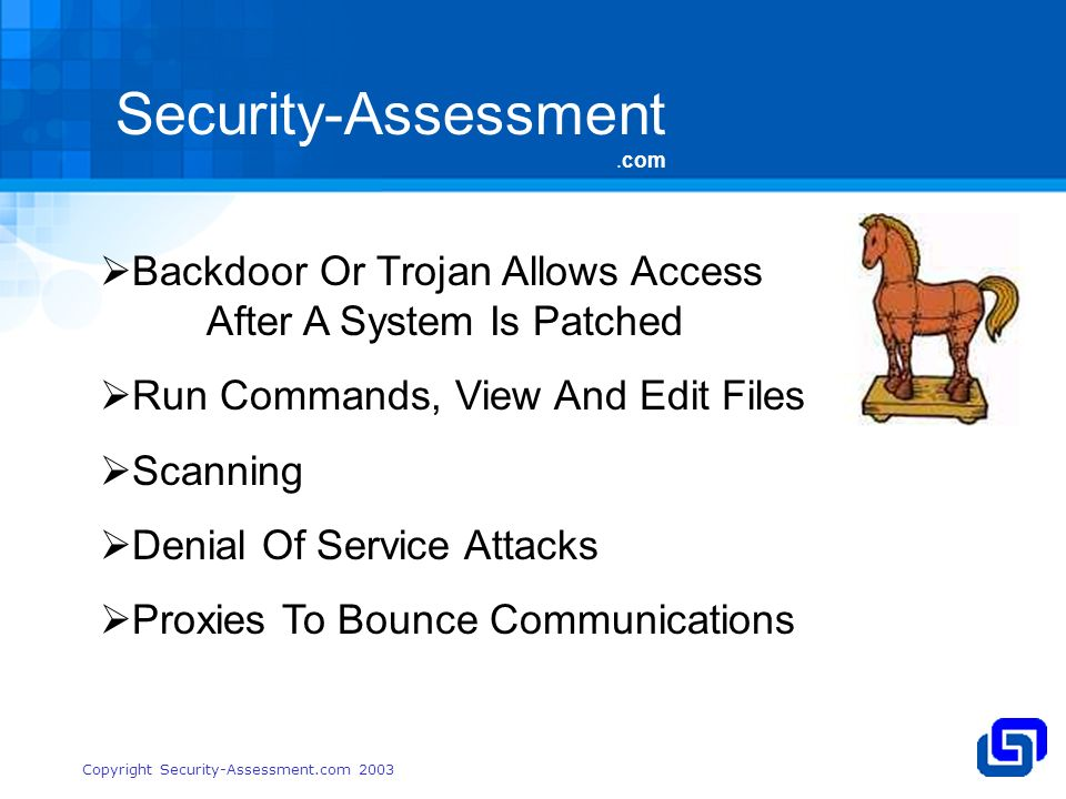Security-Assessment.com Copyright Security-Assessment.com 2003 Backdoor Or Trojan Allows Access After A System Is Patched Run Commands, View And Edit Files Scanning Denial Of Service Attacks Proxies To Bounce Communications