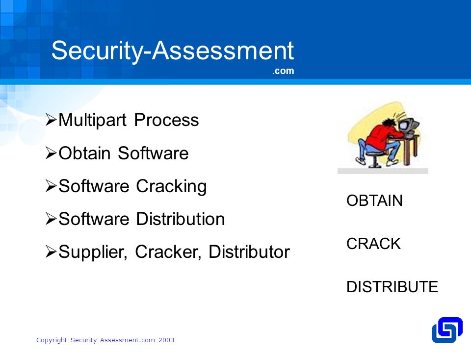 Security-Assessment.com Copyright Security-Assessment.com 2003 Multipart Process Obtain Software Software Cracking Software Distribution Supplier, Cracker, Distributor OBTAIN CRACK DISTRIBUTE
