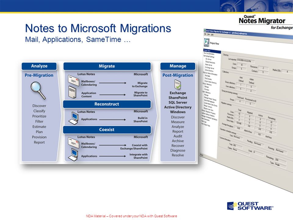 NDA Material – Covered under your NDA with Quest Software Notes to Microsoft Migrations Mail, Applications, SameTime …