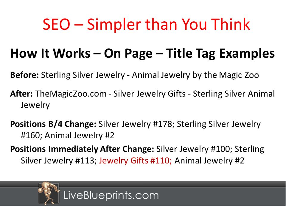 SEO – Simpler than You Think How It Works – On Page – Title Tag Examples Before: Sterling Silver Jewelry - Animal Jewelry by the Magic Zoo After: TheMagicZoo.com - Silver Jewelry Gifts - Sterling Silver Animal Jewelry Positions B/4 Change: Silver Jewelry #178; Sterling Silver Jewelry #160; Animal Jewelry #2 Positions Immediately After Change: Silver Jewelry #100; Sterling Silver Jewelry #113; Jewelry Gifts #110; Animal Jewelry #2