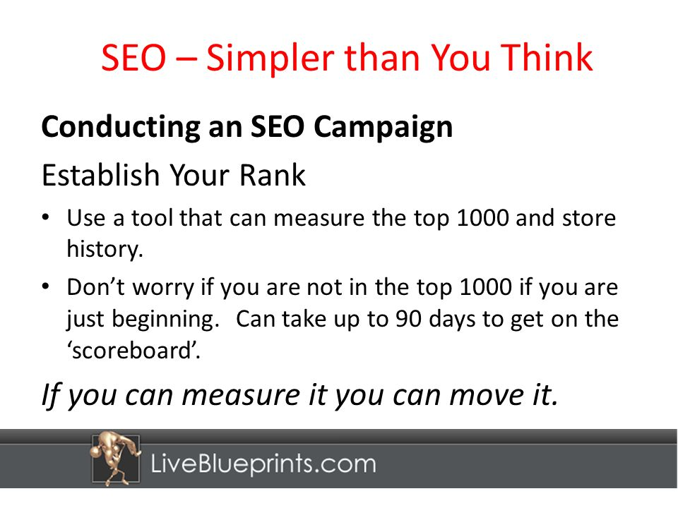 SEO – Simpler than You Think Conducting an SEO Campaign Establish Your Rank Use a tool that can measure the top 1000 and store history.
