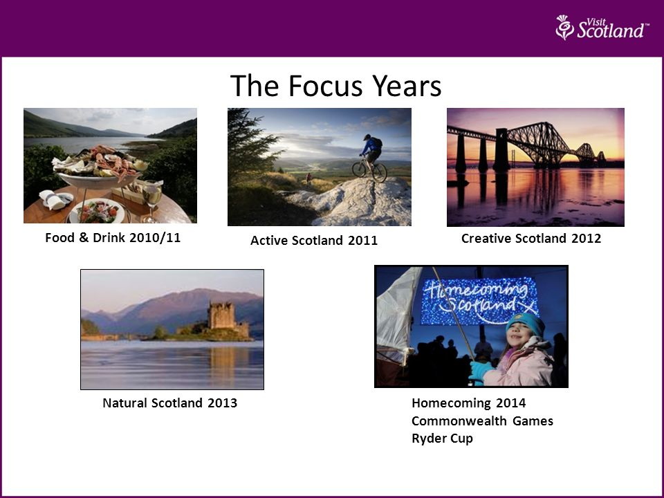The Focus Years Food & Drink 2010/11 Active Scotland 2011 Creative Scotland 2012 Natural Scotland 2013 Homecoming 2014 Commonwealth Games Ryder Cup
