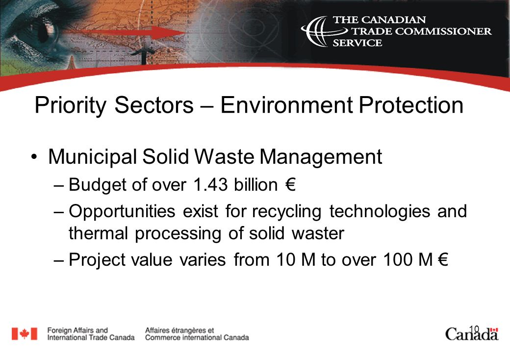 10 Priority Sectors – Environment Protection Municipal Solid Waste Management –Budget of over 1.43 billion –Opportunities exist for recycling technologies and thermal processing of solid waster –Project value varies from 10 M to over 100 M