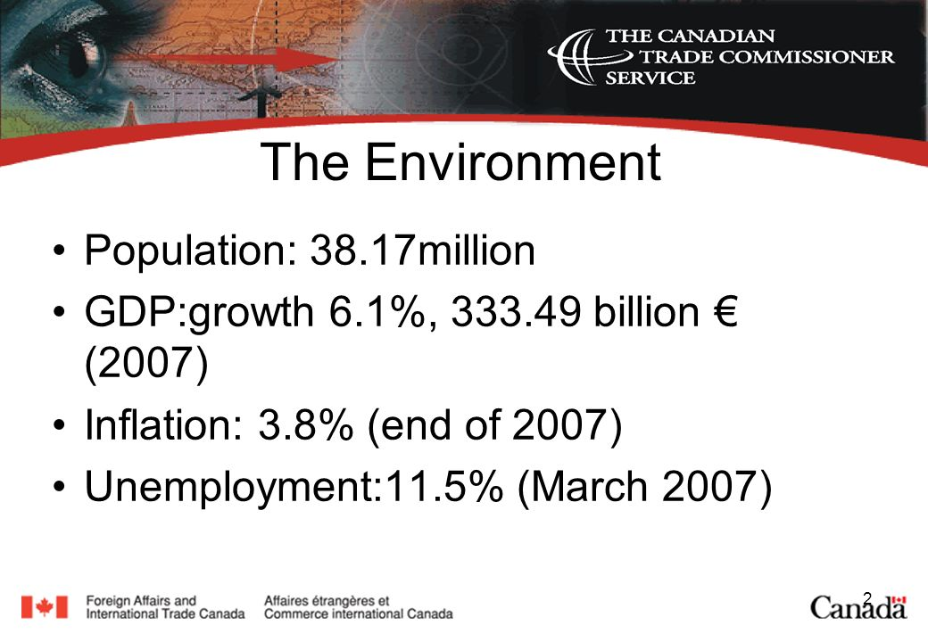 2 The Environment Population: 38.17million GDP:growth 6.1%, billion (2007) Inflation: 3.8% (end of 2007) Unemployment:11.5% (March 2007)