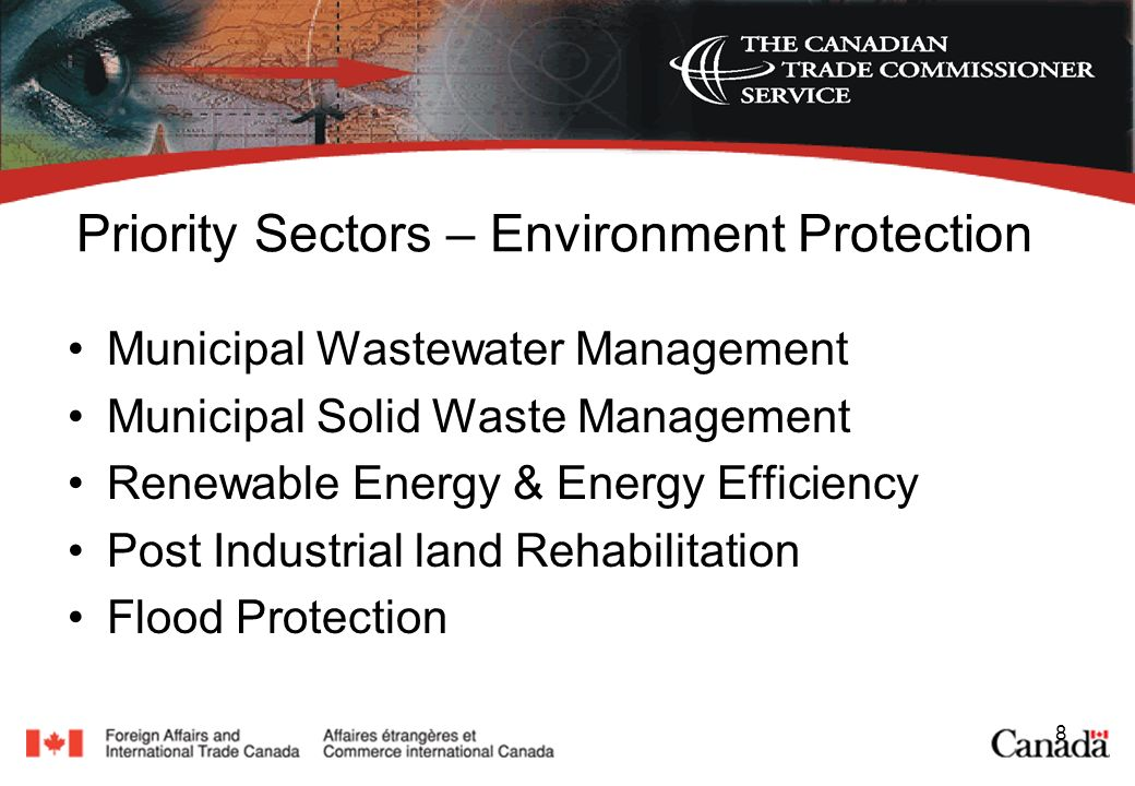 8 Priority Sectors – Environment Protection Municipal Wastewater Management Municipal Solid Waste Management Renewable Energy & Energy Efficiency Post Industrial land Rehabilitation Flood Protection