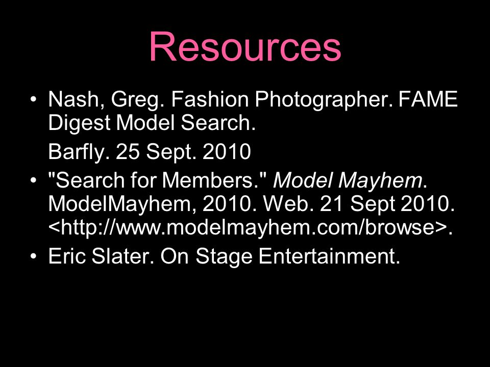 Resources Nash, Greg. Fashion Photographer. FAME Digest Model Search.