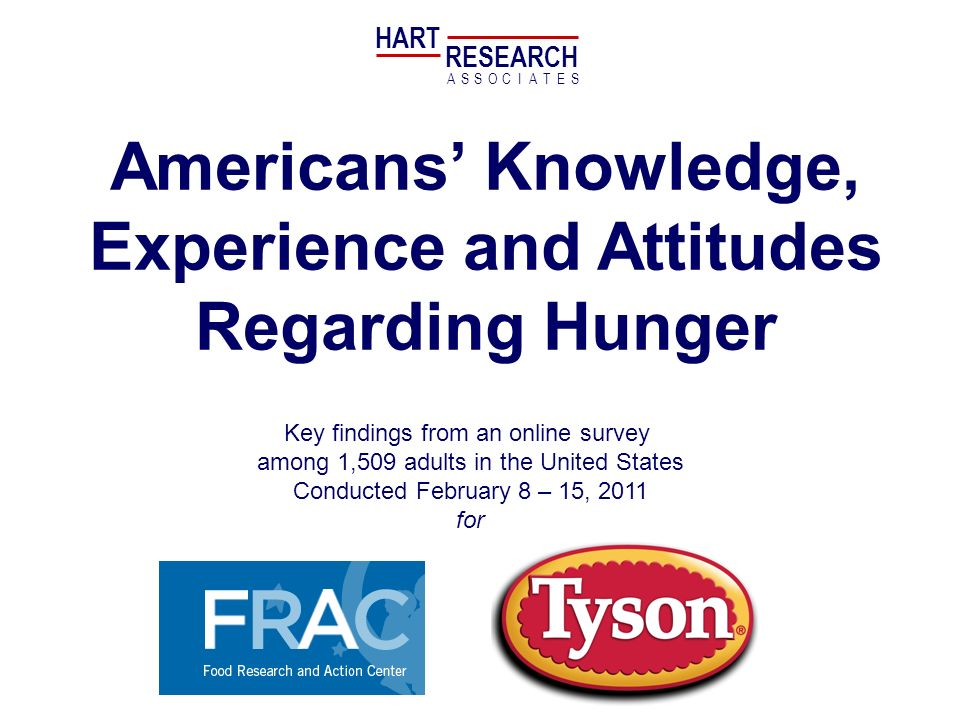 Americans Knowledge, Experience and Attitudes Regarding Hunger Key findings from an online survey among 1,509 adults in the United States Conducted February 8 – 15, 2011 for HART RESEARCH ASSOTESCIA