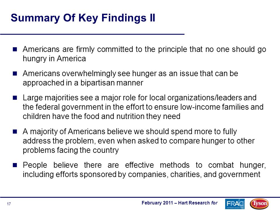 February 2011 – Hart Research for 17 Summary Of Key Findings II Americans are firmly committed to the principle that no one should go hungry in America Americans overwhelmingly see hunger as an issue that can be approached in a bipartisan manner Large majorities see a major role for local organizations/leaders and the federal government in the effort to ensure low-income families and children have the food and nutrition they need A majority of Americans believe we should spend more to fully address the problem, even when asked to compare hunger to other problems facing the country People believe there are effective methods to combat hunger, including efforts sponsored by companies, charities, and government