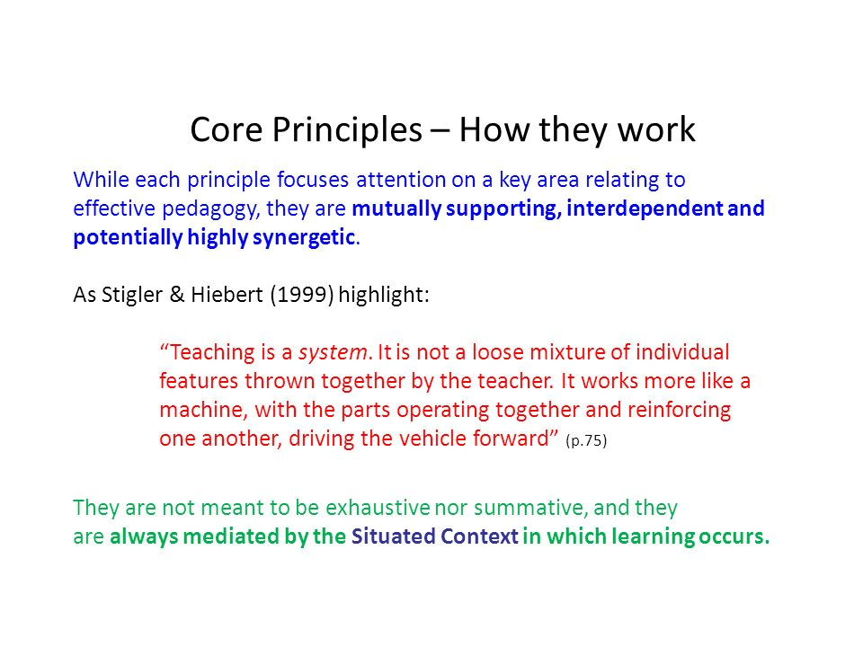 Core Principles – How they work While each principle focuses attention on a key area relating to effective pedagogy, they are mutually supporting, interdependent and potentially highly synergetic.