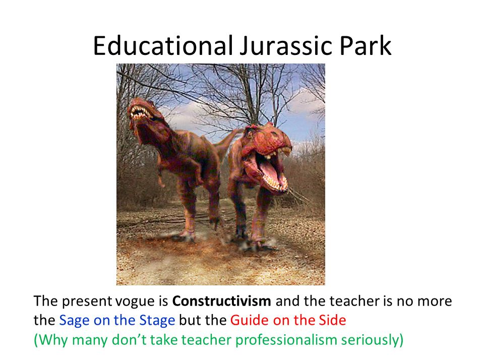 Educational Jurassic Park The present vogue is Constructivism and the teacher is no more the Sage on the Stage but the Guide on the Side (Why many dont take teacher professionalism seriously)