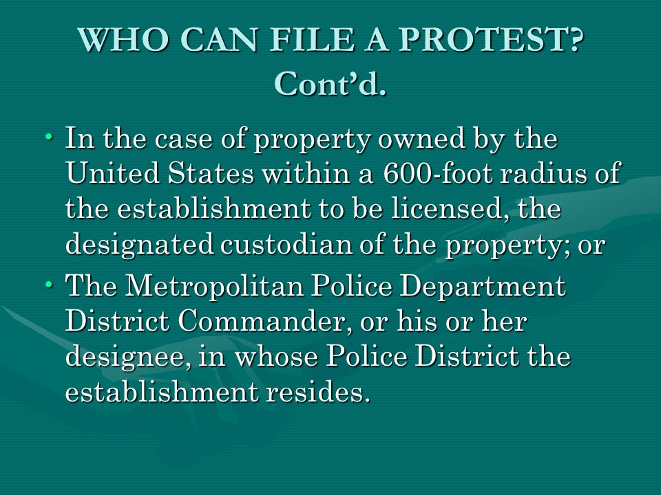 WHO CAN FILE A PROTEST. Contd.