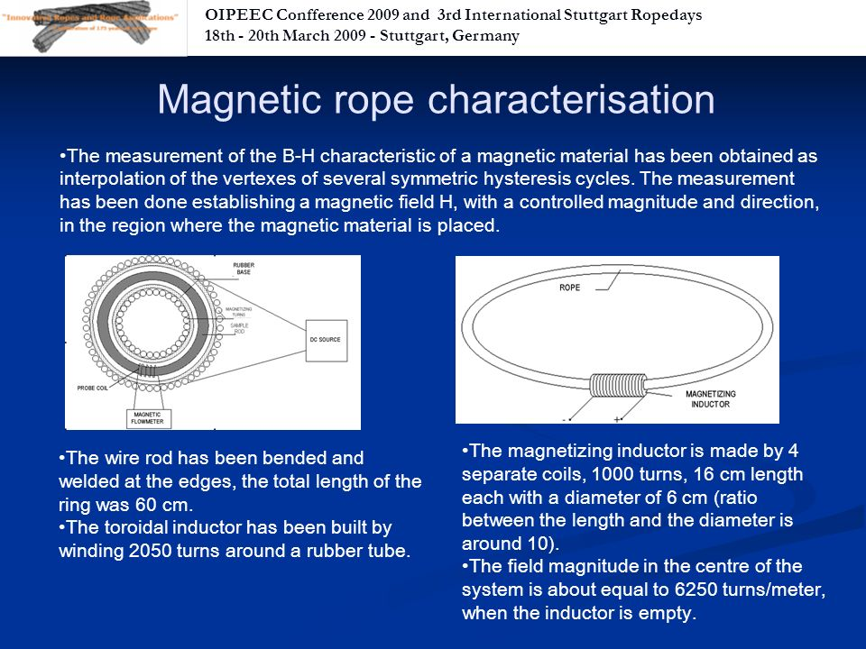OIPEEC Confference 2009 and 3rd International Stuttgart Ropedays 18th - 20th March Stuttgart, Germany The measurement of the B-H characteristic of a magnetic material has been obtained as interpolation of the vertexes of several symmetric hysteresis cycles.