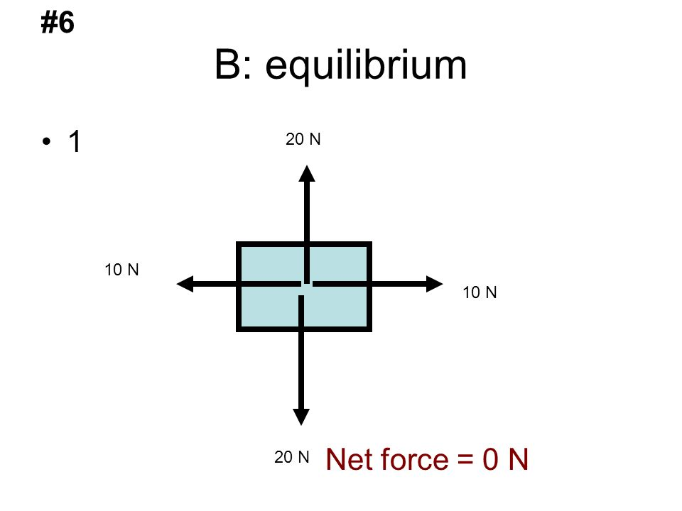 B: equilibrium 1 20 N 10 N #6 Net force = 0 N