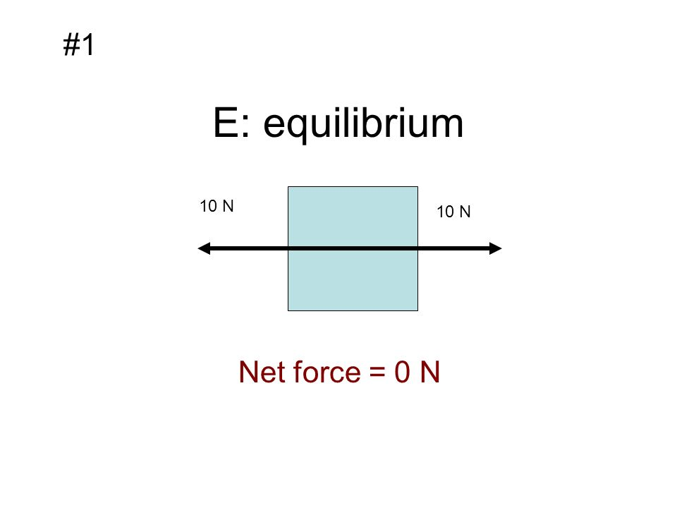 E: equilibrium 10 N #1 Net force = 0 N