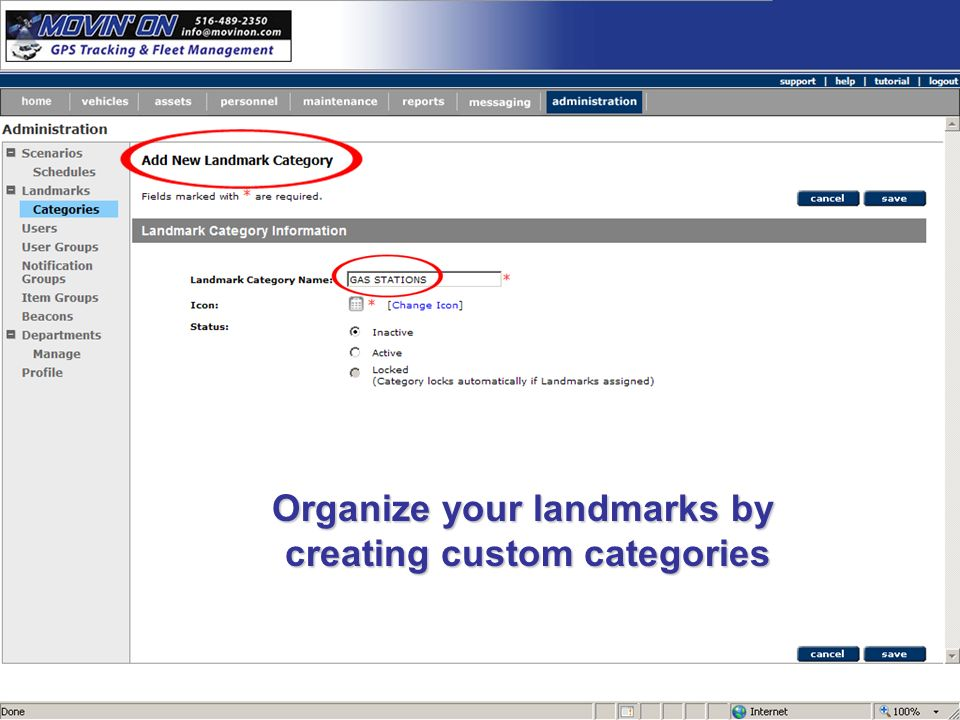 Organize your landmarks by creating custom categories