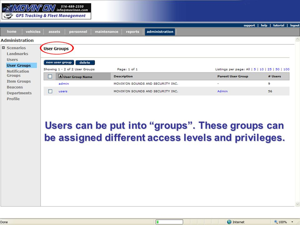 Users can be put into groups. These groups can be assigned different access levels and privileges.