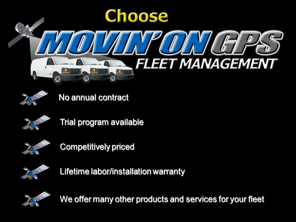 No annual contract Trial program available Competitively priced We offer many other products and services for your fleet Lifetime labor/installation warranty