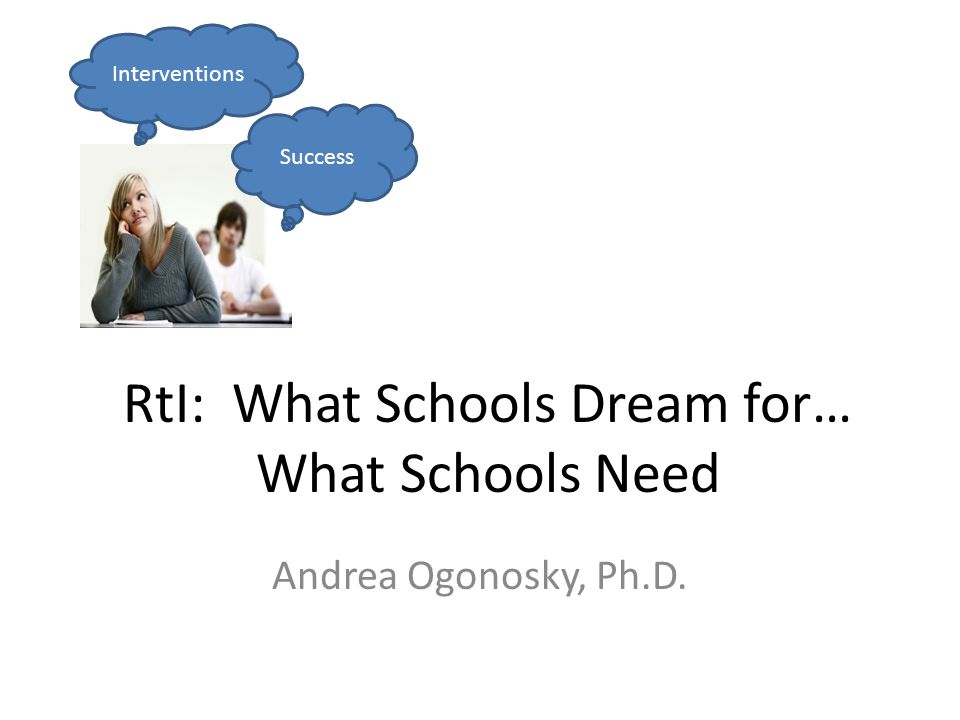RtI: What Schools Dream for… What Schools Need Andrea Ogonosky, Ph.D. Success Interventions