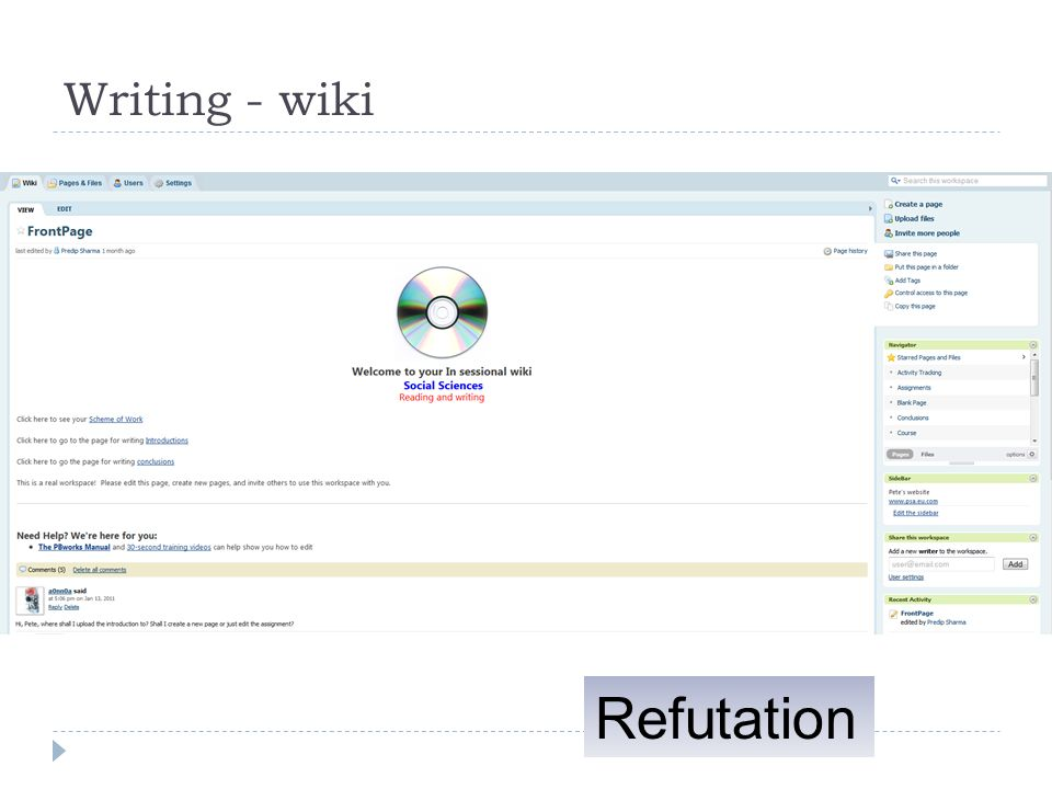 Writing - wiki Refutation