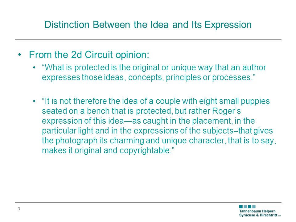 3 Distinction Between the Idea and Its Expression From the 2d Circuit opinion: What is protected is the original or unique way that an author expresses those ideas, concepts, principles or processes.